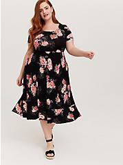 Super Soft Black Floral Midi Dress, FLORALS-BLACK, hi-res