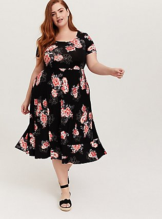 Plus Size Super Soft Black Floral Midi Dress, FLORALS-BLACK, hi-res
