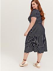 Super Soft Navy & White Stripe Midi Dress, , alternate