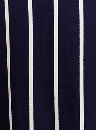 Plus Size Super Soft Navy & White Stripe Midi Dress, , alternate