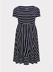 Super Soft Navy & White Stripe Midi Dress, , hi-res