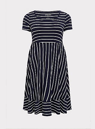 Plus Size Super Soft Navy & White Stripe Midi Dress, , flat
