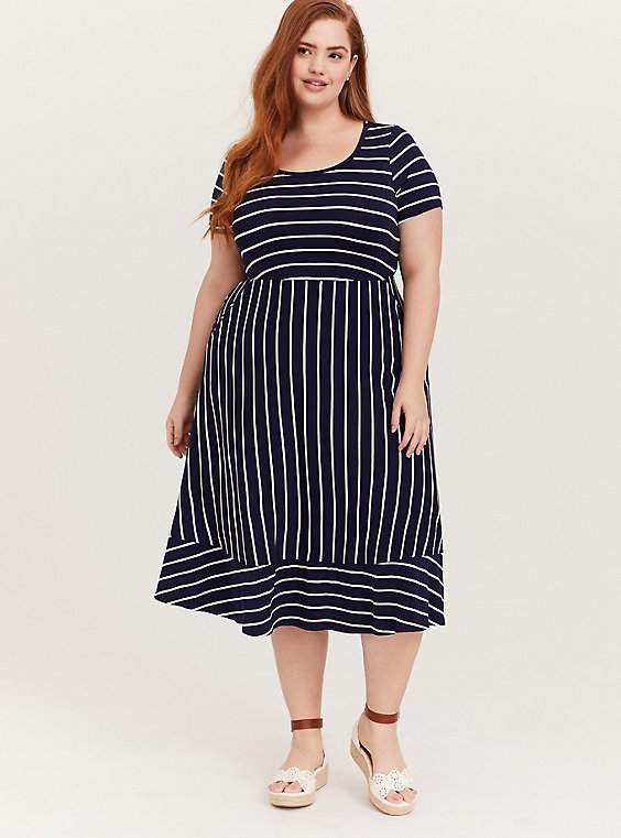 Super Soft Navy & White Stripe Midi Dress, , hi-res