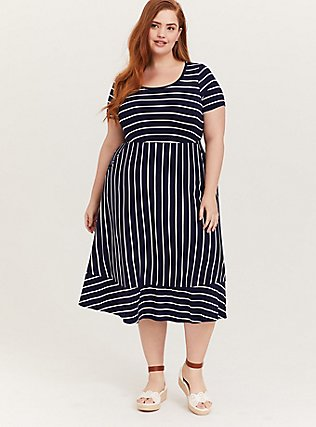 Plus Size Super Soft Navy & White Stripe Midi Dress, , hi-res