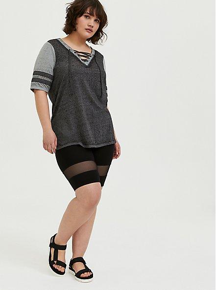 Plus Size Black & Grey Triblend Lace-Up Football Tee, DEEP BLACK, alternate