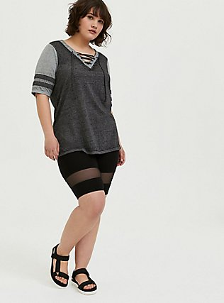 Black & Grey Triblend Lace-Up Football Tee, DEEP BLACK, alternate
