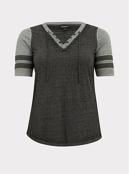 Black & Grey Triblend Lace-Up Football Tee, DEEP BLACK, hi-res