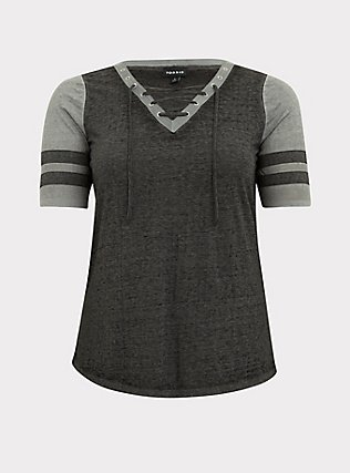 Black & Grey Triblend Lace-Up Football Tee, DEEP BLACK, flat