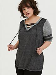 Plus Size Black & Grey Triblend Lace-Up Football Tee, DEEP BLACK, hi-res