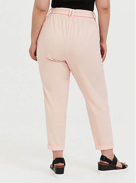 Peach Pink Crepe Self Tie Tapered Pant, PEACH MELBA, alternate