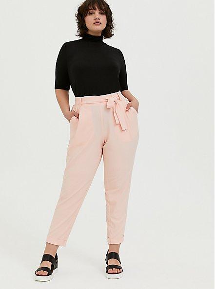 Plus Size Peach Pink Crepe Self Tie Tapered Pant, PEACH MELBA, alternate