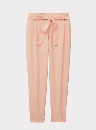 Plus Size Peach Crepe Self Tie Tapered Pant, PEACH MELBA, flat