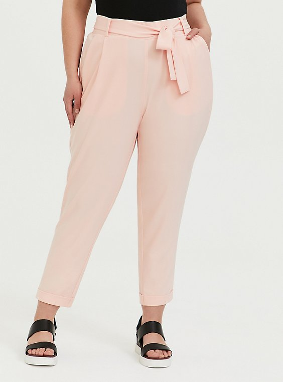 Plus Size Peach Pink Crepe Self Tie Tapered Pant, , hi-res