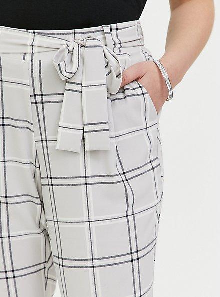 Plus Size Light Grey Plaid Crepe Self Tie Tapered Pant, PLAID, alternate