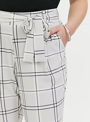 Plus Size Light Grey Plaid Crepe Self Tie Tapered Pant, PLAID, alternate