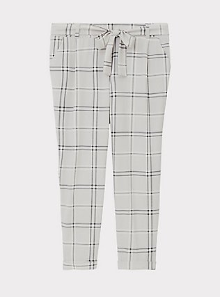 Plus Size Light Grey Plaid Crepe Self Tie Tapered Pant, PLAID, flat