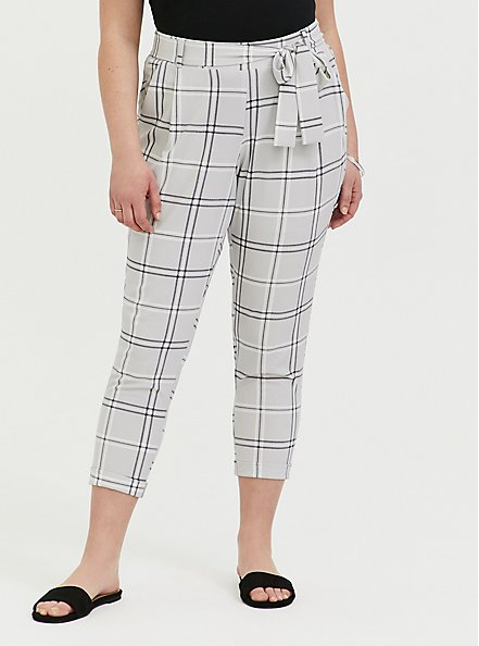 Plus Size Light Grey Plaid Crepe Self Tie Tapered Pant, PLAID, hi-res