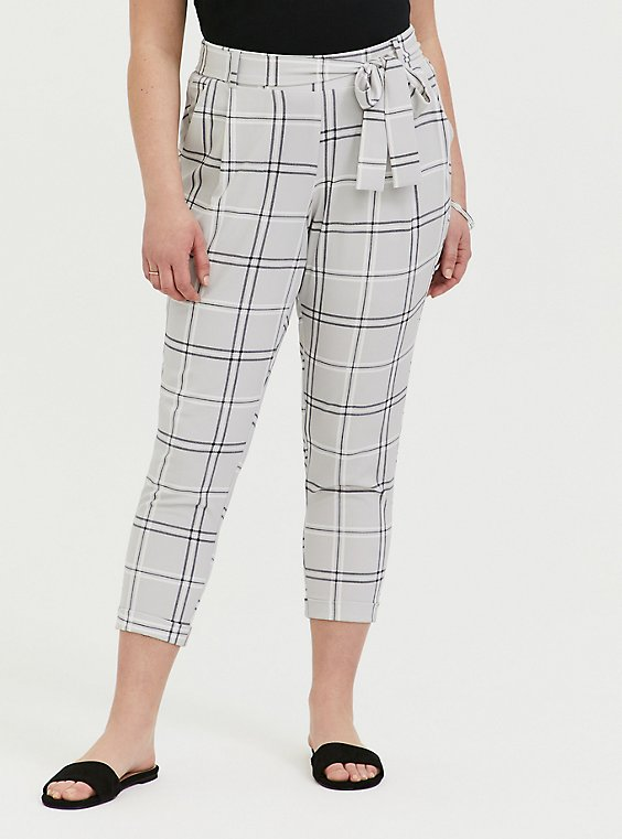 Light Grey Plaid Crepe Self Tie Tapered Pant, , hi-res