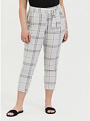 Light Grey Plaid Crepe Self Tie Tapered Pant, PLAID, hi-res