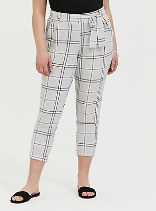 Plus Size Light Grey Plaid Crepe Self Tie Tapered Pant, PLAID, hi-res