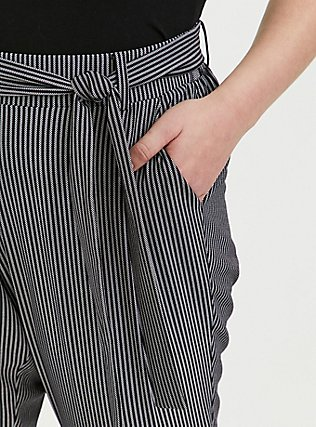 Plus Size Black & White Pinstripe Crepe Self Tie Tapered Pant, STRIPES, alternate