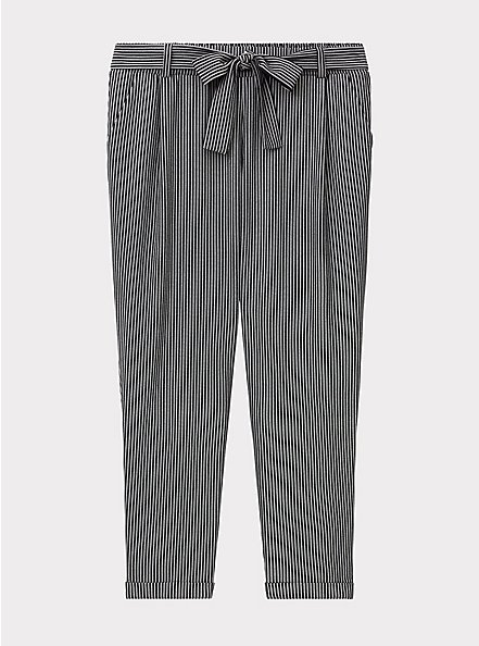 Black & White Pinstripe Crepe Self Tie Tapered Pant, STRIPES, hi-res