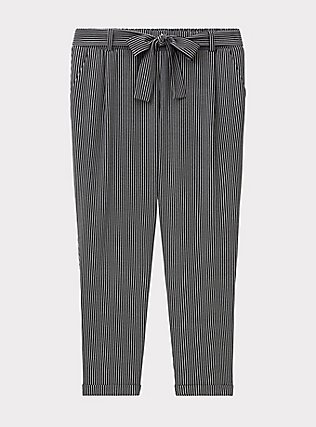 Plus Size Black & White Pinstripe Crepe Self Tie Tapered Pant, STRIPES, flat