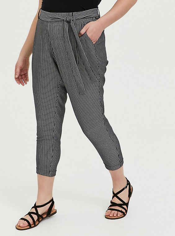 Plus Size Black & White Pinstripe Crepe Self Tie Tapered Pant, , hi-res