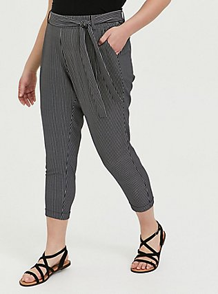 Plus Size Black & White Pinstripe Crepe Self Tie Tapered Pant, STRIPES, hi-res
