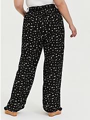 Black Geo Crinkled Gauze Self Tie Wide Leg Pant , MULTI, alternate