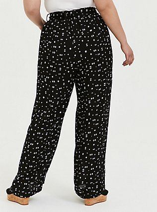 Plus Size Black Geo Crinkled Gauze Self Tie Wide Leg Pant , MULTI, alternate