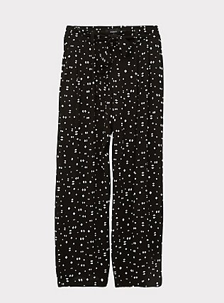 Plus Size Black Geo Crinkled Gauze Self Tie Wide Leg Pant , MULTI, flat