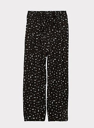 Black Geo Crinkled Gauze Self Tie Wide Leg Pant , MULTI, flat