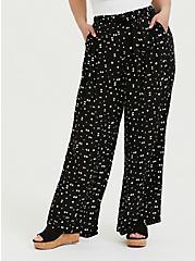 Black Geo Crinkled Gauze Self Tie Wide Leg Pant , MULTI, hi-res