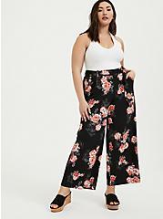 Black Floral Studio Knit Self Tie Wide Leg Pant, FLORAL, alternate