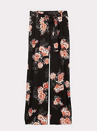 Plus Size Black Floral Studio Knit Self Tie Wide Leg Pant, FLORAL, flat
