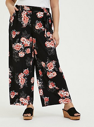 Plus Size Black Floral Studio Knit Self Tie Wide Leg Pant, FLORAL, hi-res