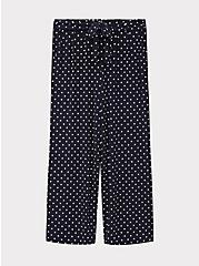 Navy Polka Dot Studio Knit Self Tie Wide Leg Pant, POLKA DOT BLUE, hi-res