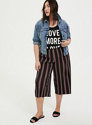 Black Multi Stripe Pleated Culotte, STRIPES, alternate