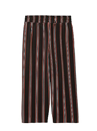 Black Multi Stripe Pleated Culotte, STRIPES, flat