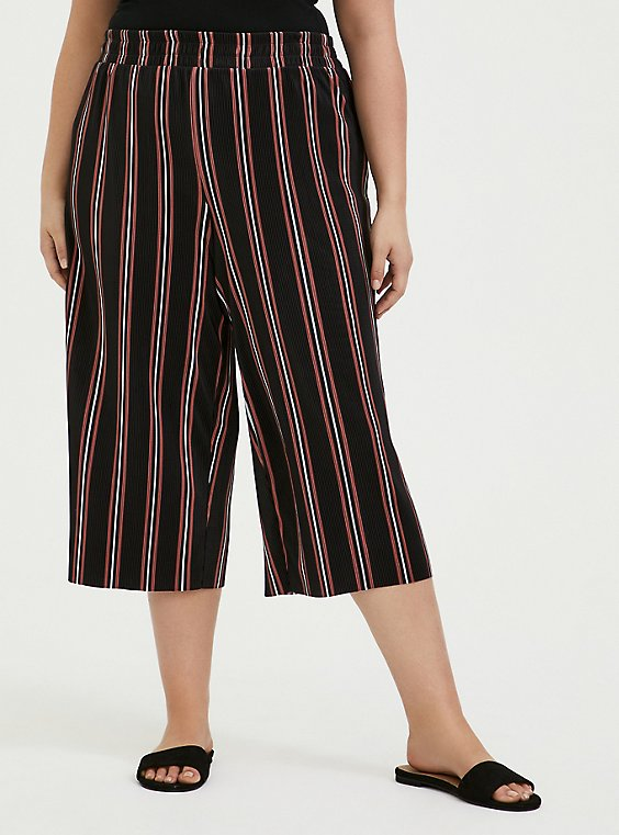 Black Multi Stripe Pleated Culotte, , hi-res
