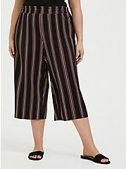 Black Multi Stripe Pleated Culotte, STRIPES, hi-res