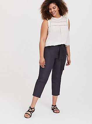 Plus Size Crop Twill Self Tie Utility Pant – Dark Slate Grey, NINE IRON, alternate