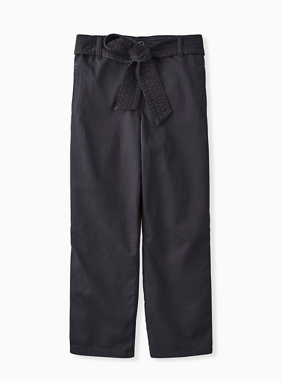 Plus Size Crop Twill Self Tie Utility Pant – Dark Slate Grey, , flat