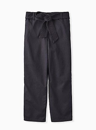 Plus Size Crop Twill Self Tie Utility Pant – Dark Slate Grey, NINE IRON, flat