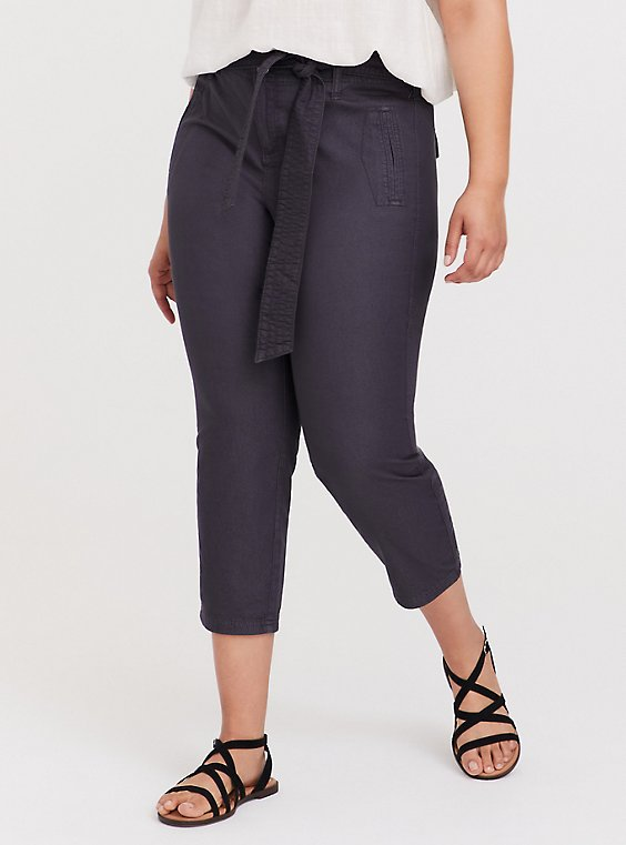 Plus Size Crop Twill Self Tie Utility Pant – Dark Slate Grey, , hi-res