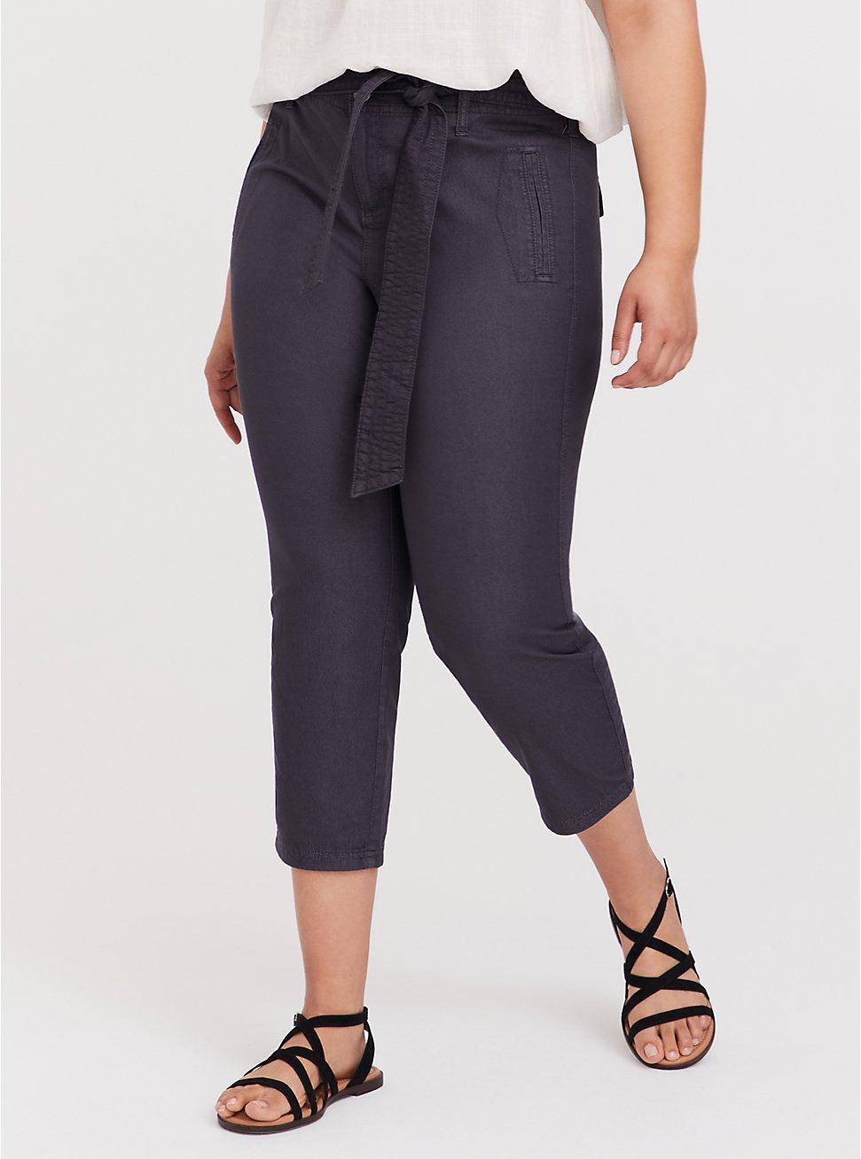 Plus Size Crop Twill Self Tie Utility Pant – Dark Slate Grey, , hi-res