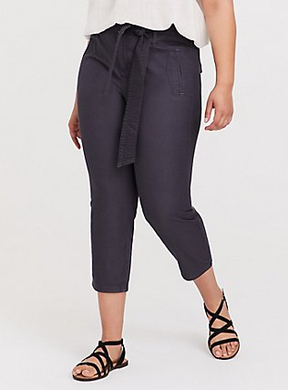 Plus Size Crop Twill Self Tie Utility Pant – Dark Slate Grey, NINE IRON, hi-res