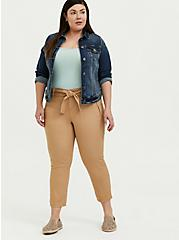 Self Tie Crop Utility Pant - Twill Khaki Brown, BROWN, alternate