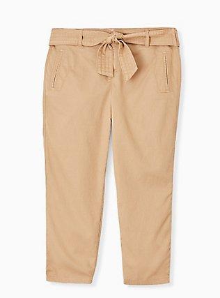 Self Tie Crop Utility Pant - Twill Khaki Brown, BROWN, flat